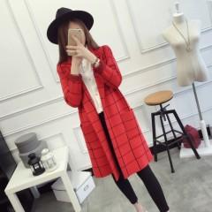 COOREENA 秋季新款韩版女士针织衫西装领中长款外套 20168899 红色 均码