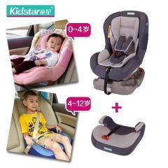 童星(Kidstar) 儿童汽车安全座椅  可双向安装 适合0-12岁  2096系列 套装版/灰色