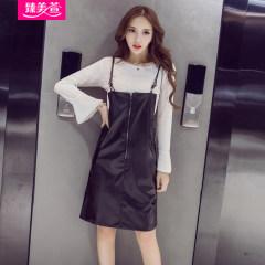 时尚皮背带裙+荷叶袖上衣宽松女士秋冬套装两件套 160828015 灰色 S