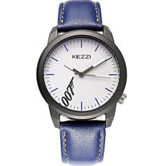 珂紫时尚潮流真皮皮带男士手表休闲简约帅气特工007 蓝色 男款