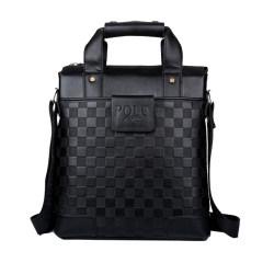 臻美萱 男士格纹手提单肩包14寸电脑文件包休闲商务公文包 竖款 黑色