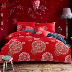 南极人家纺四件套 60支长绒棉贡缎床品套件全棉床单四件套 梦娜 1.5-1.8米床通用(被套2*2.