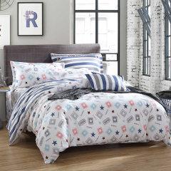 南极人四件套纯棉床上用品全棉被套床单式四件套 1.5-1.8米床通用 时尚爱-蓝 1.5m-1.8m