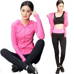 兰博伊人秋冬户外跑步运动服套装女 健身瑜伽长袖拉链连帽三件套LB9108 玫红色 S