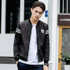 1618 秋季新款时尚棒球服男士长袖夹克外套 X1078-8062 黑色 M