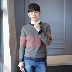 1618 秋季新款男士毛衣韩版时尚套头圆领针织衫 X1078-815 深灰色 M