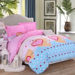 欢乐时光  全棉精梳斜纹AB版印花四件套 纯棉套件 星梦缘(粉) 1.5-18米床通用型
