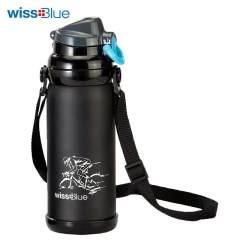 Wissblue户外保温杯 不锈钢保温水壶 大容量 骑行运动水壶水杯WH1022 黑色 800ML