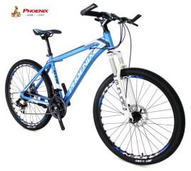 凤凰 YE5105T 禧玛诺变速山地自行车 铝合金碟刹车架 26寸跑车 消光蓝