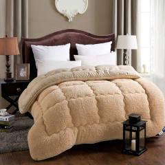 摩亚 双面设计 亲肤羊羔绒冬被 200*230CM  7斤重 驼色 200*230CM  7斤重