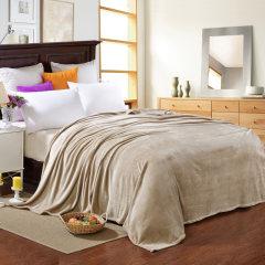【浪莎家纺】法莱绒四季多用盖毯毛毯床单 柔软舒适 2.0*2.3M 纯色驼色 200*230CM