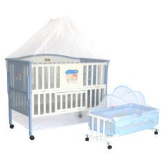 李贝儿高档进口松木天蓝色婴儿的实木床环保烤漆SC628送摇篮蚊帐