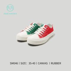 女韩风平板帆布鞋 红绿 36