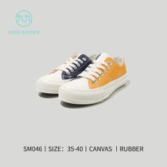 韩风平板布鞋(藏青和黄色) 藏青和黄色 36