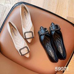 软皮低跟浅口鞋 米色 米色 36