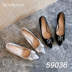 时尚细跟尖头小香风高跟鞋 米色和黑色 黑色 36