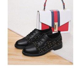 小香风短款马丁靴 黑色和白色 黑色 35