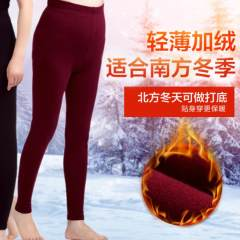 保暖裤女  加绒裤高腰 打底款秋裤 6936288111692  32604 枣红 XL
