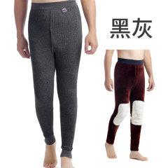 天鸿雅达 中老年男士獭兔贴片保暖裤 3109 黑灰 L