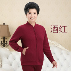 天鸿雅达 中老年女士羊羔绒保暖上衣 32842 酒红 XL