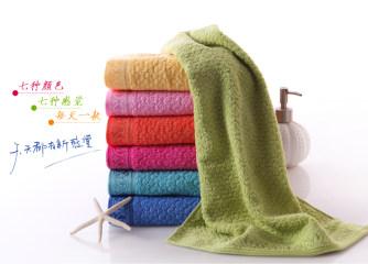 金号纯棉毛巾七条装 全棉素色提缎 吸水舒适 七色搭配各色一条1003 红色 70*34cm 7个彩虹