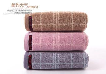 金号G1955H全棉毛巾纯棉面巾柔软 紫色 74*36cm 条格