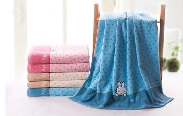 金号/米菲纯棉浴巾 卡通贴布绣可爱小兔 情侣款式 三色可选3029 红色 150*72cm 波点小兔