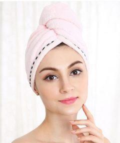 金号干发帽纯棉加厚超强吸水速干韩国成人可爱干发巾包头浴巾帽 红色 64*24cm 纯色