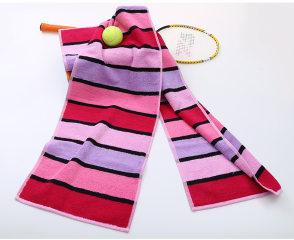 金号毛巾 加厚加长强吸水运动毛巾 成人大手巾纯棉情侣款面巾 红色 150*30cm 格条