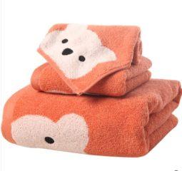 金号纯棉卡通3件套1浴巾1毛巾1方巾全无捻超柔软可爱小熊 红色浴巾毛巾方巾各1 130*65cm 小