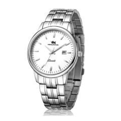 尼诺里拉 手表 钢带石英表 白钢 男表