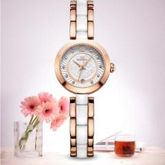 尼诺里拉 手表 陶瓷镶钻石英女表 玫瑰金 女表