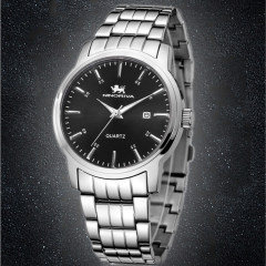 尼诺里拉 手表 钢带石英男表 白色表盘 男表