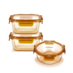 美国康宁 琥珀保鲜盒三件套 耐高温玻璃饭盒WK-HP-3B