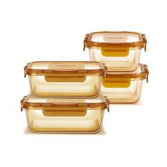 美国康宁 琥珀保鲜盒四件套 耐高温玻璃饭盒WK-HP-4C