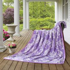 罗莱LOVO 紫烟四季毯 超柔法兰绒毯180*200 VQ394