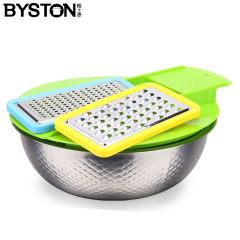 栢士德 厨帮手套装 不锈钢盆菜盘 打丝器(26CM果蔬盆+2个刨器)BST-015