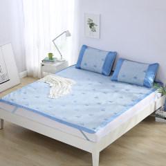 罗莱 假日甜梦提花冰丝席 凉席 三件套 蓝色 150x200(cm)