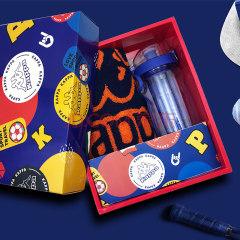 Kappa 1000ML炫彩运动杯蓝色+BANDA长款运动巾橙色礼盒KPXL-001毛巾水杯套装