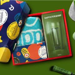 Kappa时尚运动杯套装(长款)蓝色毛巾+绿色杯子KPSL-003