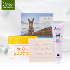 Oliviam澳莉维亚/澳洲袋鼠三件套礼盒(羊奶皂+绵羊油+护手霜)
