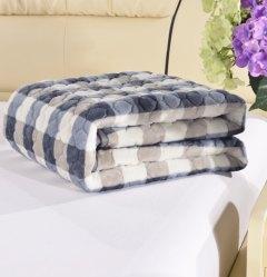 特价法兰绒软床垫床褥子可机洗宾馆保护垫法莱绒床护垫 蓝白格 0.9*2米