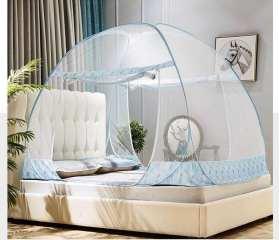 双开门免安装加密蒙古包蚊帐新款三开门魔术蚊1.2米床用