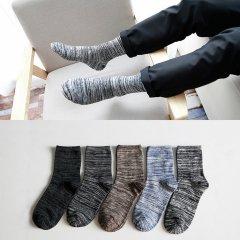 保暖棉袜拼色复古男均码5双装