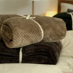 无印家空调网眼毯珊瑚绒盖毯米色咖色军绿三色可选