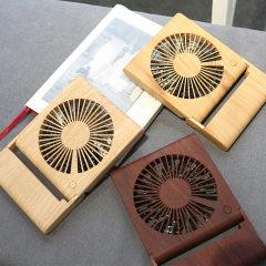 木纹笔记本小型风扇静音便携式