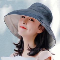 双面拼色大檐渔夫帽女夏季日系遮阳帽防晒帽子韩可折叠