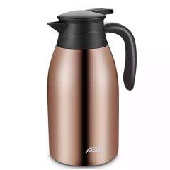爱仕达ASD 304不锈钢保温壶2.0L 大容量真空保温瓶便携家用热水壶暖瓶 深咖棕