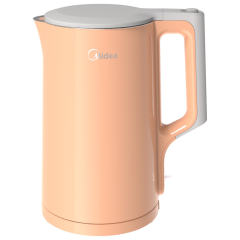 美的(Midea)电水壶 304不锈钢电热水壶 1.7L家用双层防烫烧水壶HJ1722A 橙色 1.