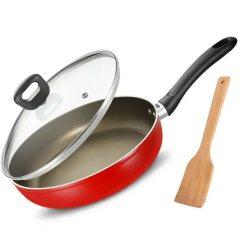 爱仕达平底锅 (红色)不粘煎锅28cm通磁不沾煎蛋饼牛排煎锅WG8128E炒锅 红色 28CM 带玻